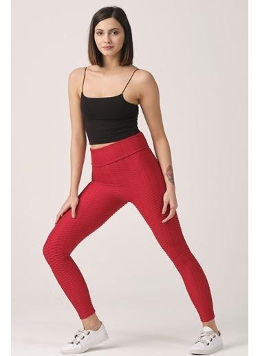 Elif İç Giyim Kadın Yüksek Bel Push Up Brazil Tayt Kırmızı